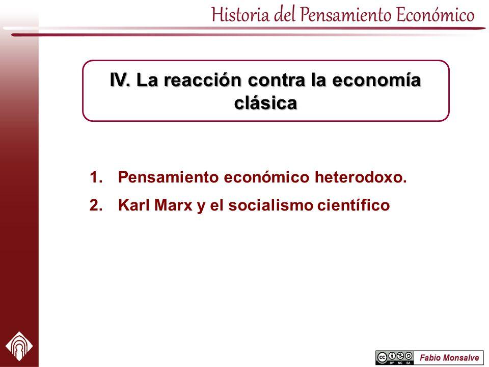 1.Pensamiento económico heterodoxo. 2.Karl Marx y el socialismo científico IV. La reacción contra la economía clásica