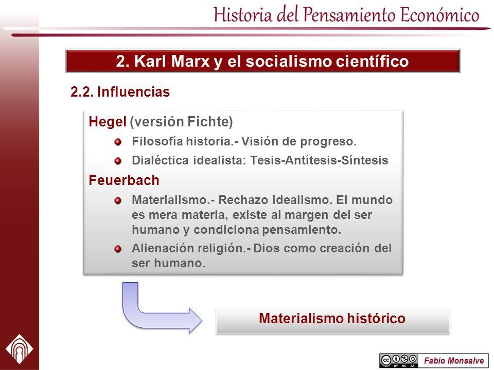 2. Karl Marx y el socialismo científico 2.2. Influencias Hegel (versión Fichte) Filosofía historia.- Visión de progreso. Dialéctica idealista: Tesis-A