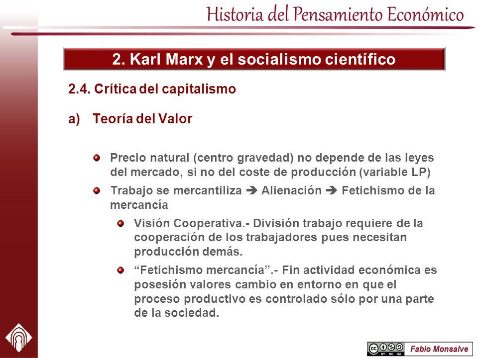 2. Karl Marx y el socialismo científico 2.4. Crítica del capitalismo a)Teoría del Valor Precio natural (centro gravedad) no depende de las leyes del m