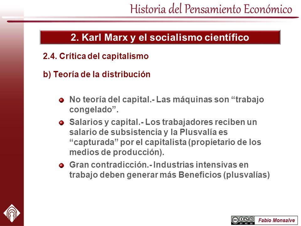 2. Karl Marx y el socialismo científico 2.4. Crítica del capitalismo b) Teoría de la distribución No teoría del capital.- Las máquinas son trabajo con