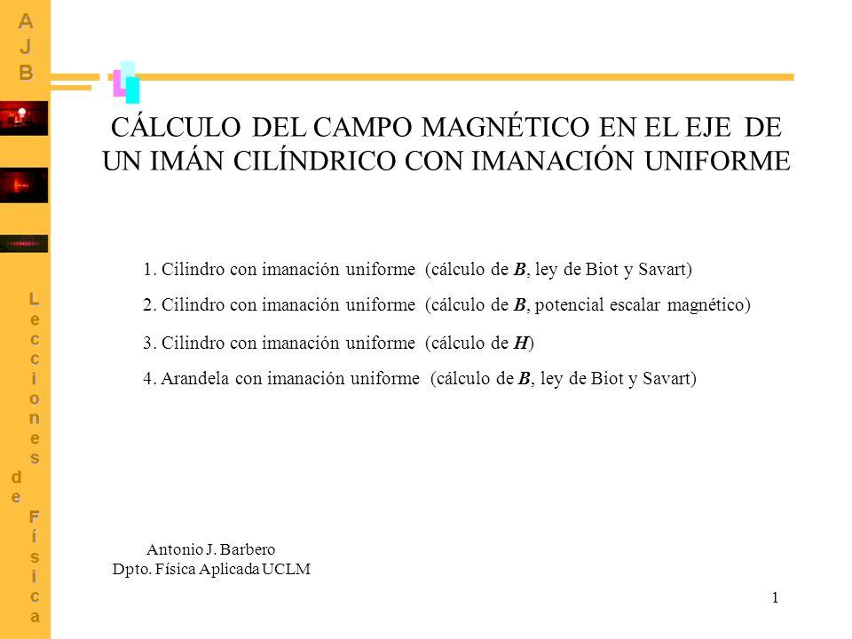 1 CÁLCULO DEL CAMPO MAGNÉTICO EN EL EJE DE UN IMÁN CILÍNDRICO CON IMANACIÓN UNIFORME Antonio J. Barbero Dpto. Física Aplicada UCLM 1. Cilindro con ima