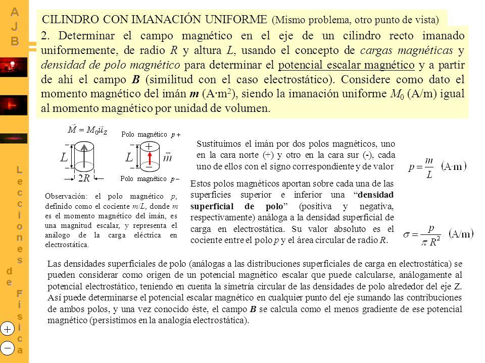 2. Determinar el campo magnético en el eje de un cilindro recto imanado uniformemente, de radio R y altura L, usando el concepto de cargas magnéticas