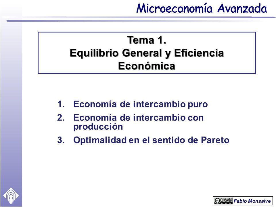 1.Economía de intercambio puro 2.Economía de intercambio con producción 3.Optimalidad en el sentido de Pareto Tema 1. Equilibrio General y Eficiencia