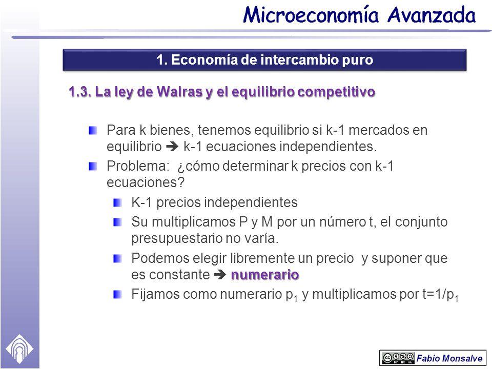 1. Economía de intercambio puro 1.3. La ley de Walras y el equilibrio competitivo Para k bienes, tenemos equilibrio si k-1 mercados en equilibrio k-1