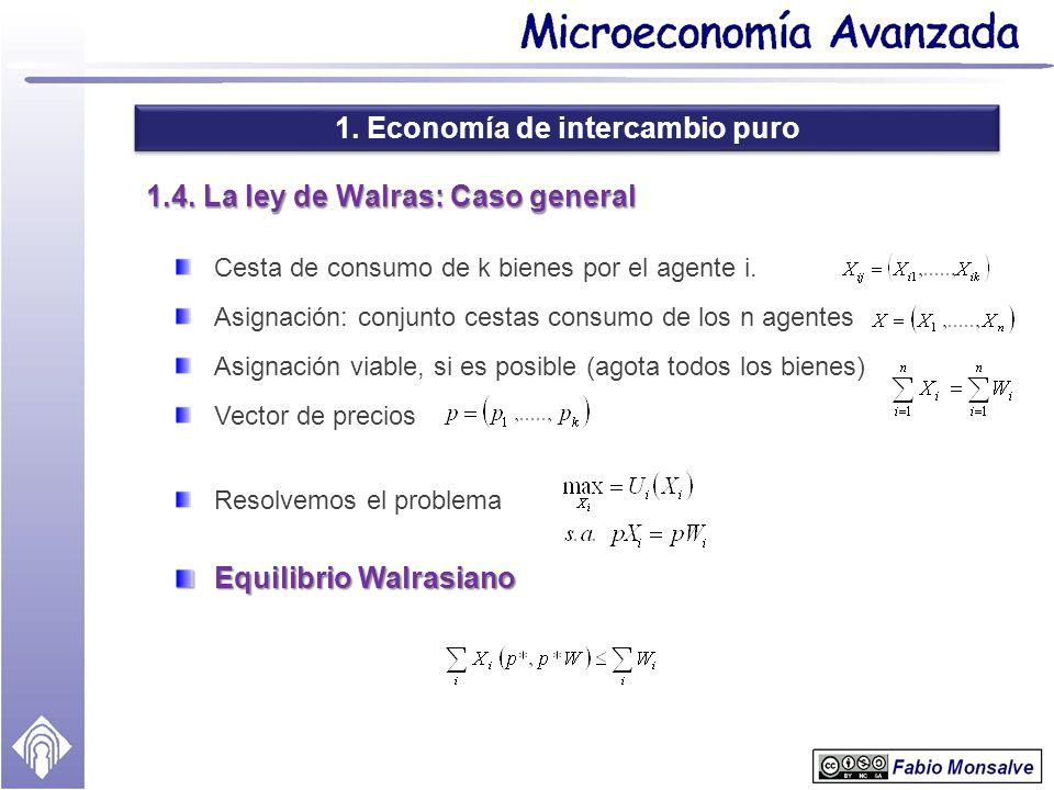 1. Economía de intercambio puro 1.4. La ley de Walras: Caso general Cesta de consumo de k bienes por el agente i. Asignación: conjunto cestas consumo