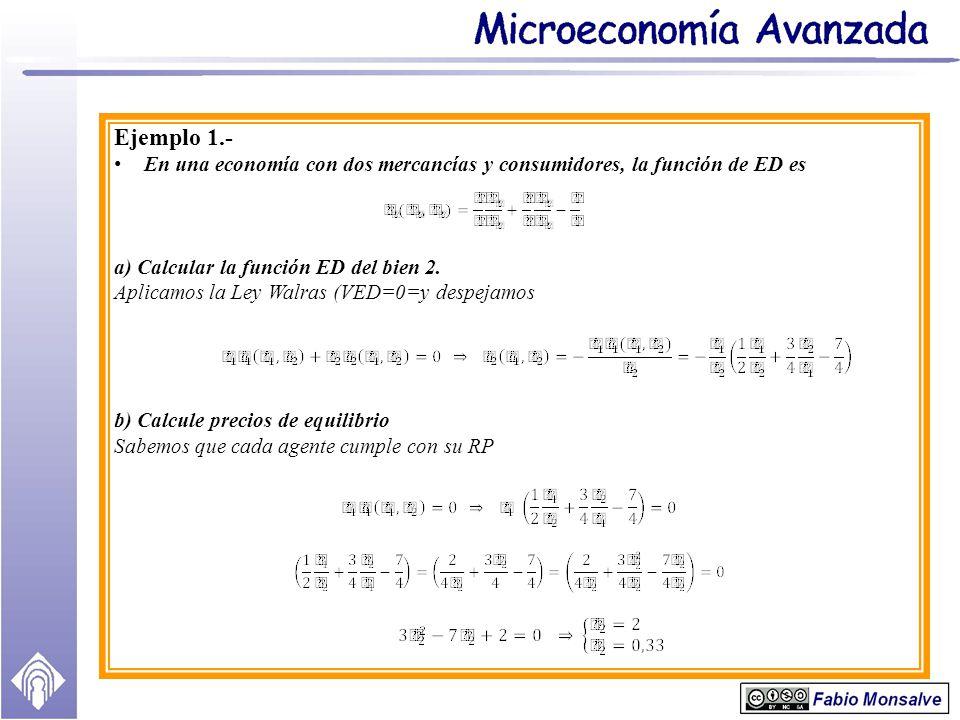 Ejemplo 1.- En una economía con dos mercancías y consumidores, la función de ED es a) Calcular la función ED del bien 2. Aplicamos la Ley Walras (VED=