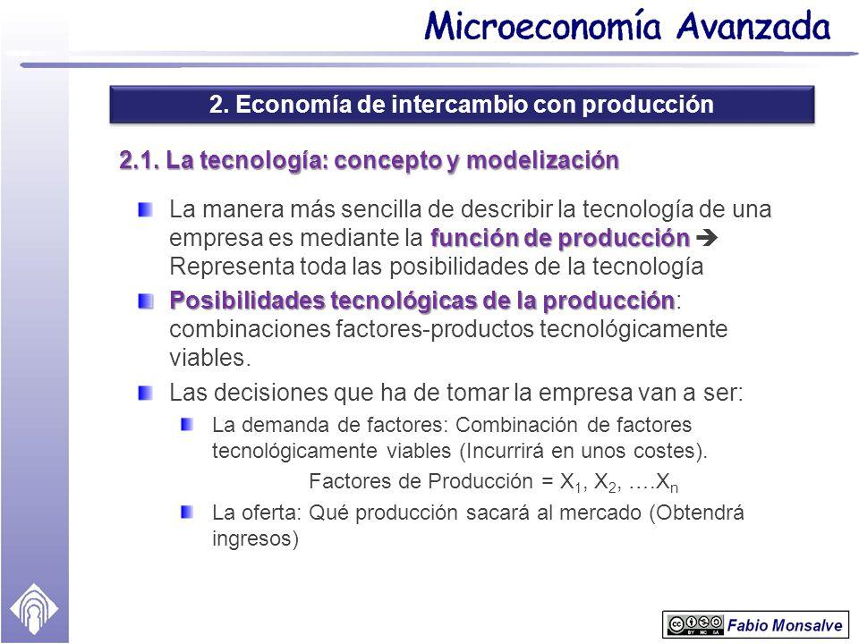 2. Economía de intercambio con producción 2.1. La tecnología: concepto y modelización función de producción La manera más sencilla de describir la tec