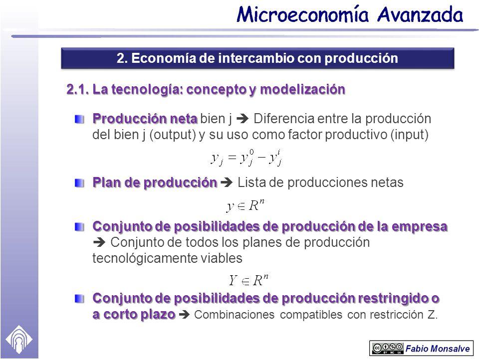 2. Economía de intercambio con producción 2.1. La tecnología: concepto y modelización Producción neta Producción neta bien j Diferencia entre la produ