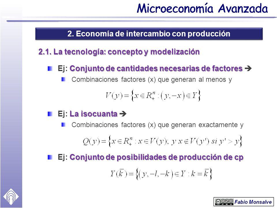 2. Economía de intercambio con producción 2.1. La tecnología: concepto y modelización Conjunto de cantidades necesarias de factores Ej: Conjunto de ca