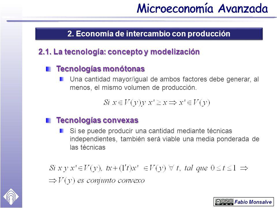 2. Economía de intercambio con producción 2.1. La tecnología: concepto y modelización Tecnologías monótonas Una cantidad mayor/igual de ambos factores