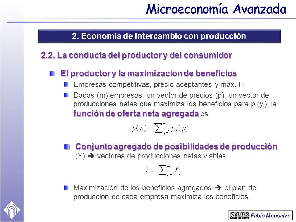 2. Economía de intercambio con producción 2.2. La conducta del productor y del consumidor El productor y la maximización de beneficios Empresas compet