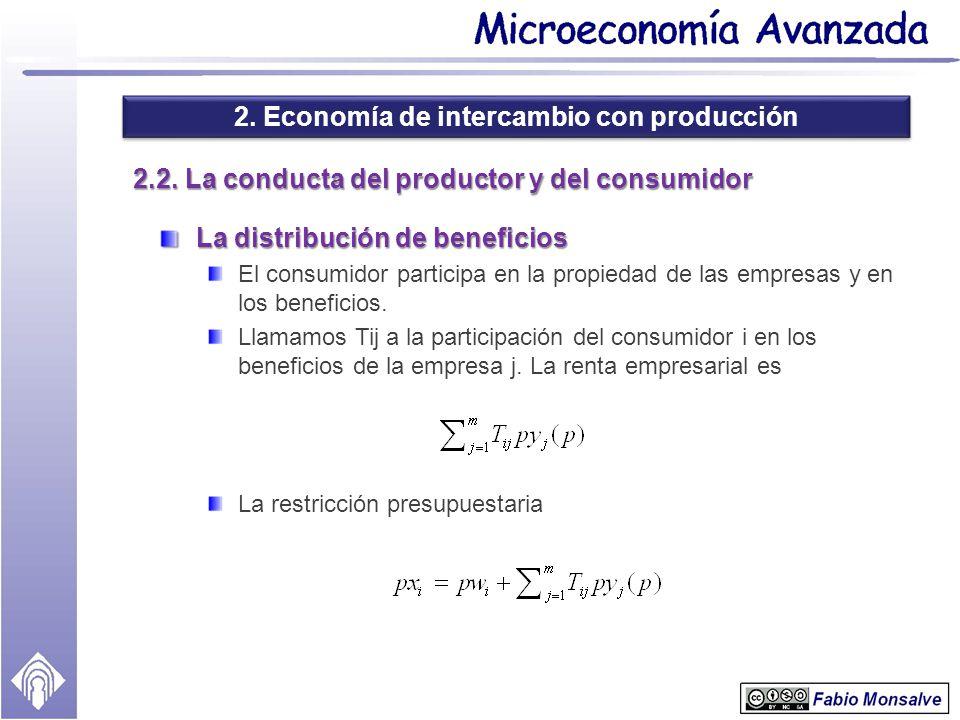 2. Economía de intercambio con producción 2.2. La conducta del productor y del consumidor La distribución de beneficios El consumidor participa en la
