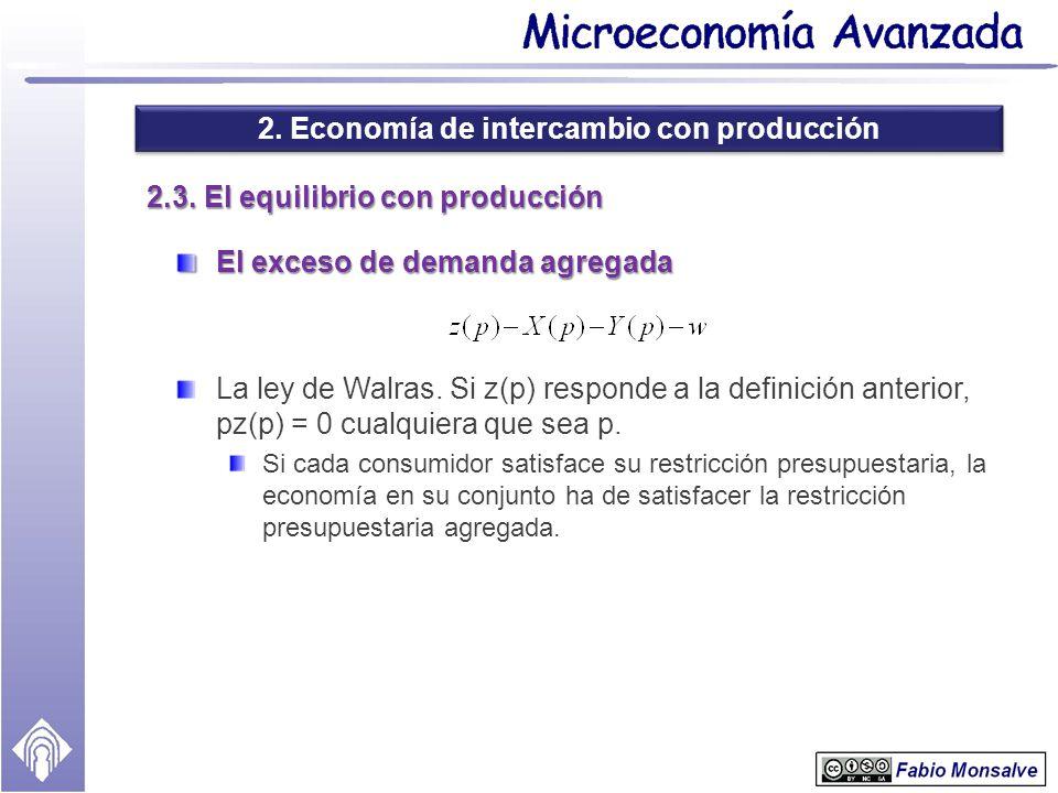 2. Economía de intercambio con producción 2.3. El equilibrio con producción El exceso de demanda agregada La ley de Walras. Si z(p) responde a la defi