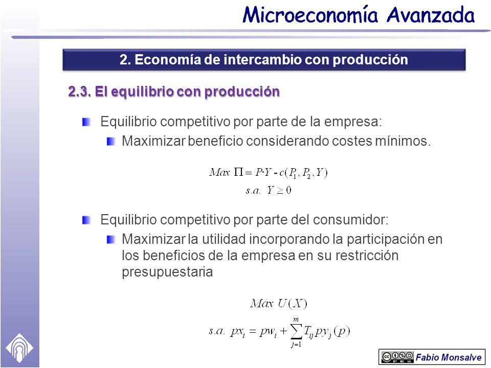 2. Economía de intercambio con producción 2.3. El equilibrio con producción Equilibrio competitivo por parte de la empresa: Maximizar beneficio consid