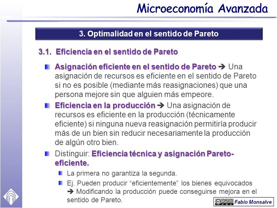 3. Optimalidad en el sentido de Pareto 3.1. Eficiencia en el sentido de Pareto Asignación eficiente en el sentido de Pareto Asignación eficiente en el