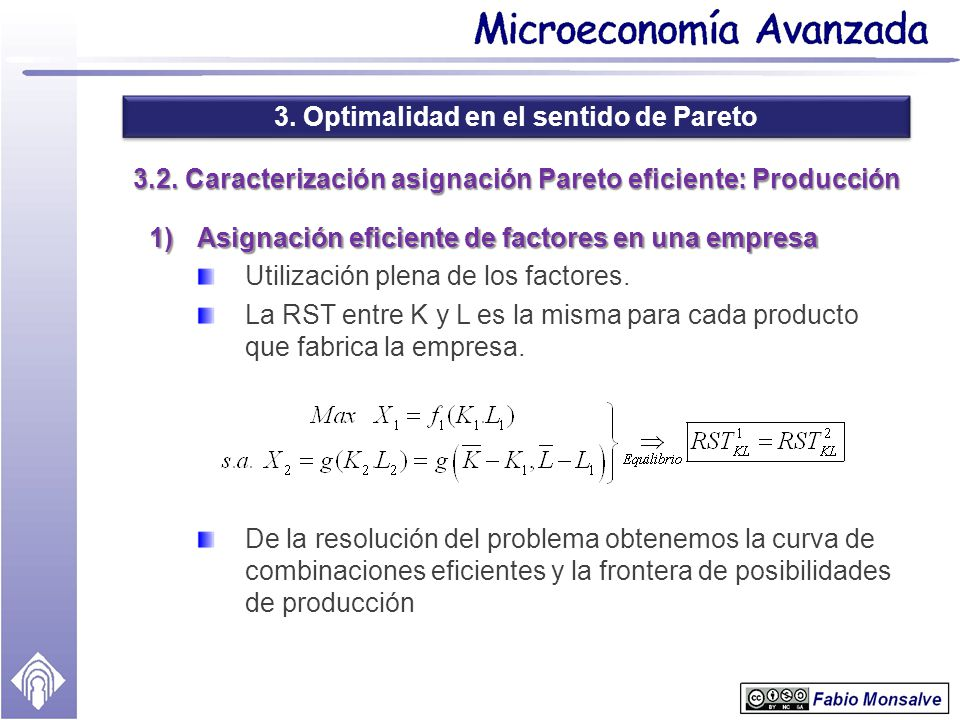 3. Optimalidad en el sentido de Pareto 3.2. Caracterización asignación Pareto eficiente: Producción 1)Asignación eficiente de factores en una empresa