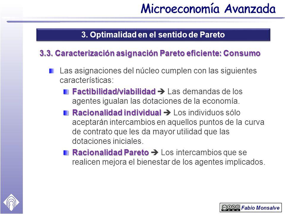 3. Optimalidad en el sentido de Pareto 3.3. Caracterización asignación Pareto eficiente: Consumo Las asignaciones del núcleo cumplen con las siguiente