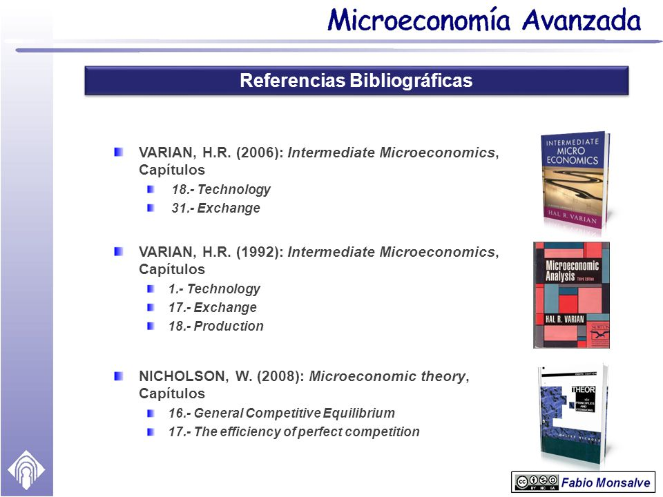 Referencias Bibliográficas NICHOLSON, W. (2008): Microeconomic theory, Capítulos 16.- General Competitive Equilibrium 17.- The efficiency of perfect c