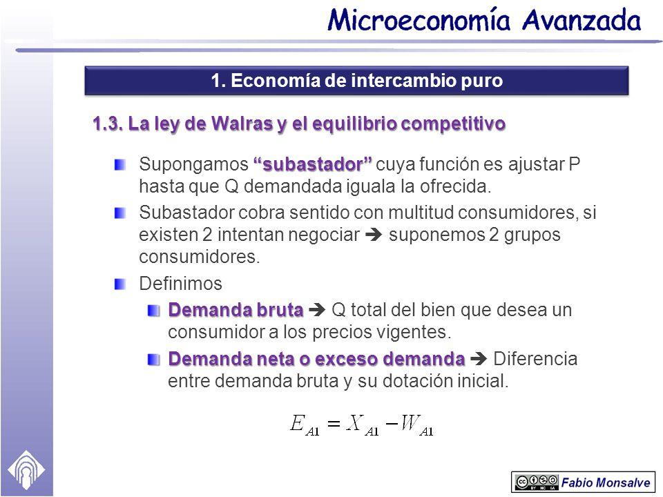 1. Economía de intercambio puro 1.3. La ley de Walras y el equilibrio competitivo subastador Supongamos subastador cuya función es ajustar P hasta que