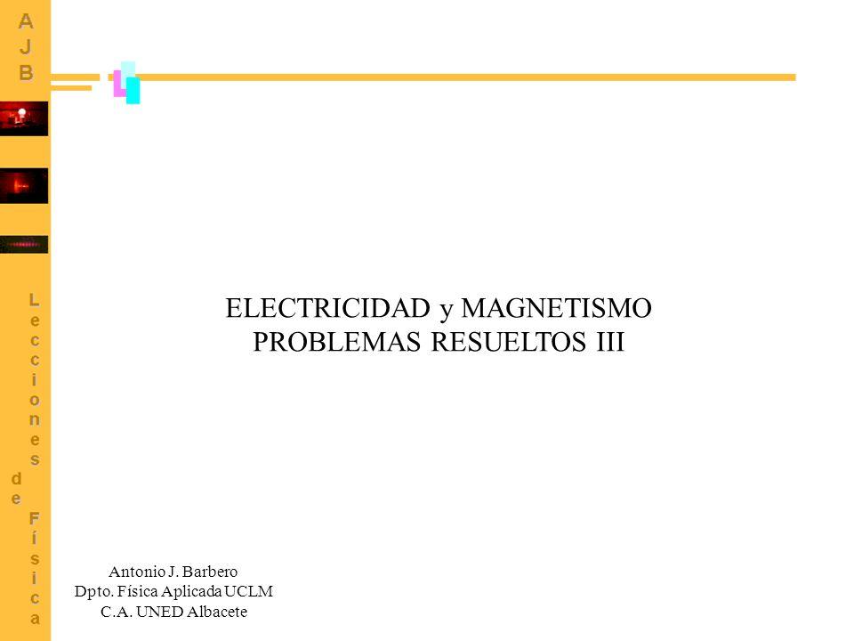 ELECTRICIDAD y MAGNETISMO PROBLEMAS RESUELTOS III Antonio J. Barbero Dpto. Física Aplicada UCLM C.A. UNED Albacete