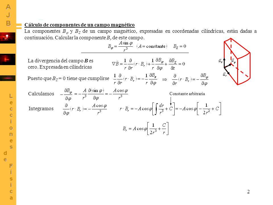2 Cálculo de componentes de un campo magnético La componentes B y B Z de un campo magnético, expresadas en coordenadas cilíndricas, están dadas a cont