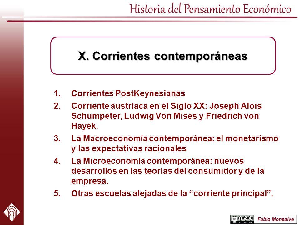 1.Corrientes PostKeynesianas 2.Corriente austríaca en el Siglo XX: Joseph Alois Schumpeter, Ludwig Von Mises y Friedrich von Hayek. 3.La Macroeconomía