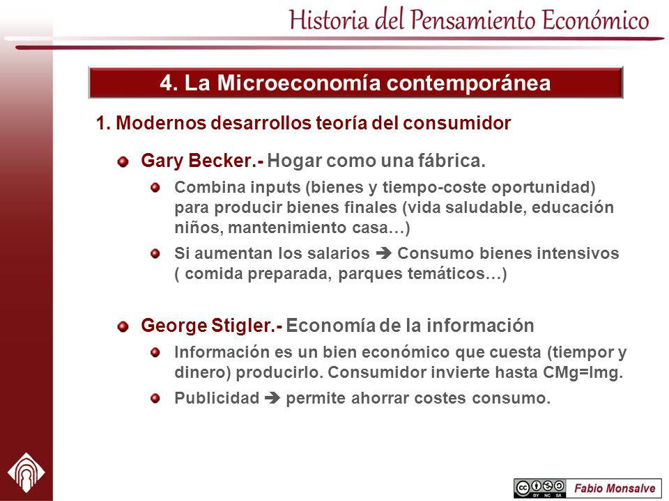 4. La Microeconomía contemporánea 1. Modernos desarrollos teoría del consumidor Gary Becker.- Hogar como una fábrica. Combina inputs (bienes y tiempo-