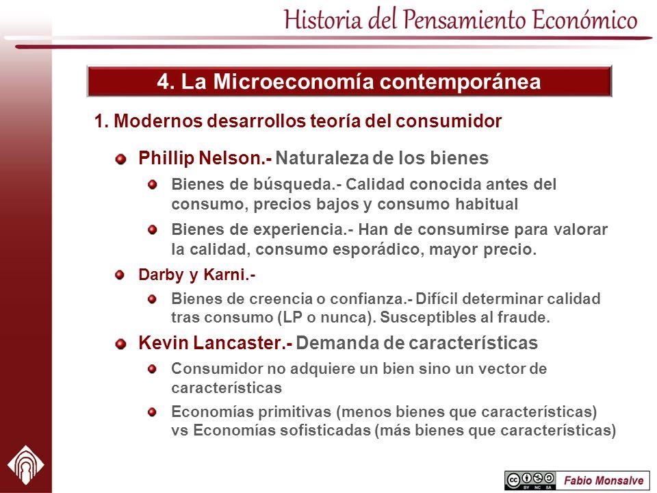 4. La Microeconomía contemporánea 1. Modernos desarrollos teoría del consumidor Phillip Nelson.- Naturaleza de los bienes Bienes de búsqueda.- Calidad