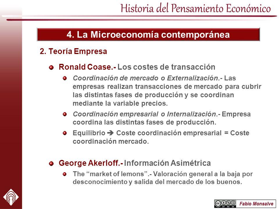4. La Microeconomía contemporánea 2. Teoría Empresa Ronald Coase.- Los costes de transacción Coordinación de mercado o Externalización.- Las empresas