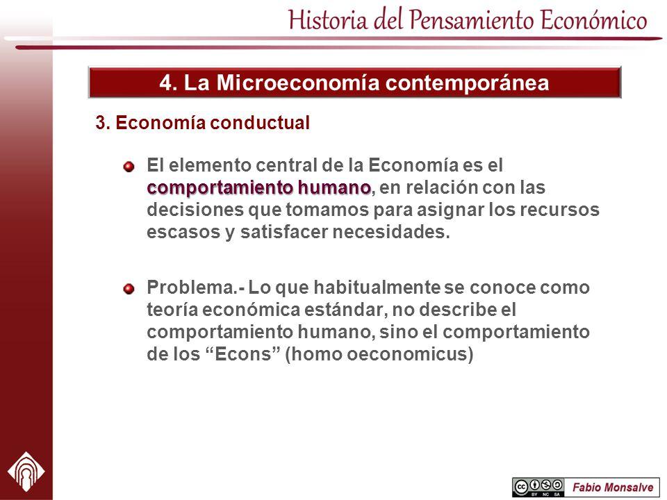 4. La Microeconomía contemporánea 3. Economía conductual comportamiento humano El elemento central de la Economía es el comportamiento humano, en rela