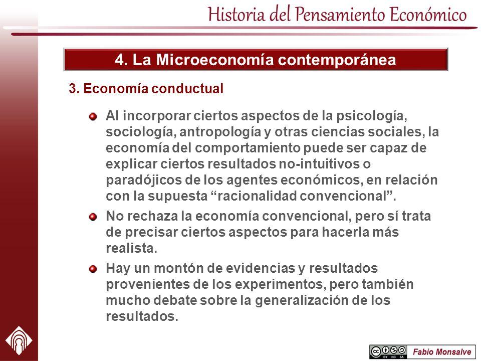 4. La Microeconomía contemporánea 3. Economía conductual Al incorporar ciertos aspectos de la psicología, sociología, antropología y otras ciencias so