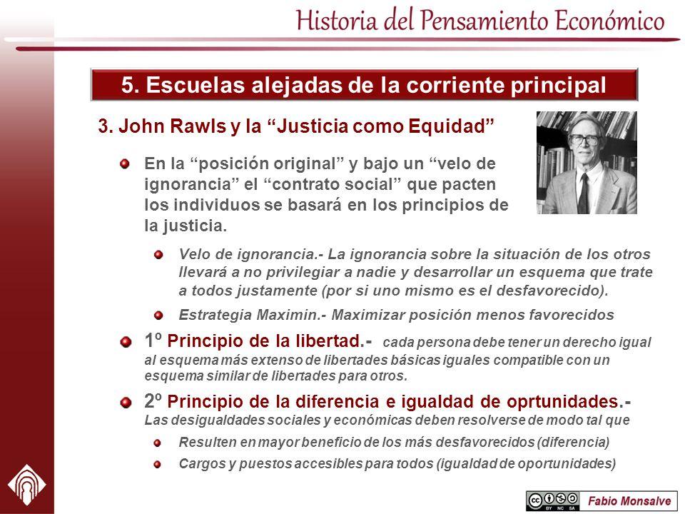 5. Escuelas alejadas de la corriente principal 3. John Rawls y la Justicia como Equidad En la posición original y bajo un velo de ignorancia el contra