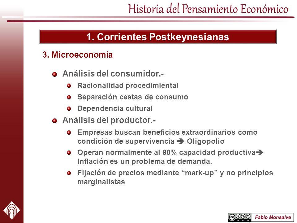 1. Corrientes Postkeynesianas Análisis del consumidor.- Racionalidad procedimiental Separación cestas de consumo Dependencia cultural Análisis del pro