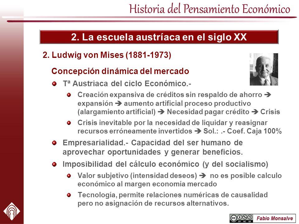2. La escuela austríaca en el siglo XX 2. Ludwig von Mises (1881-1973) Concepción dinámica del mercado Tª Austriaca del ciclo Económico.- Creación exp