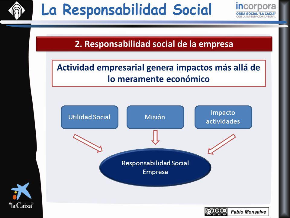 2. Responsabilidad social de la empresa Actividad empresarial genera impactos más allá de lo meramente económico Utilidad SocialMisión Impacto activid
