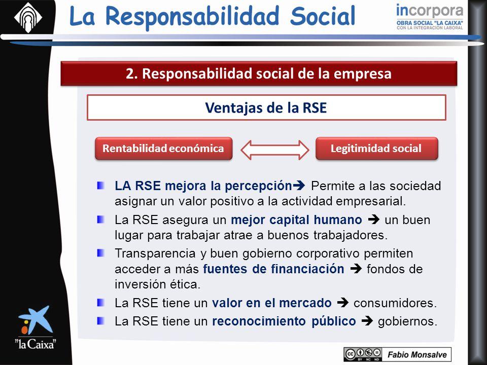 2. Responsabilidad social de la empresa Ventajas de la RSE LA RSE mejora la percepción Permite a las sociedad asignar un valor positivo a la actividad