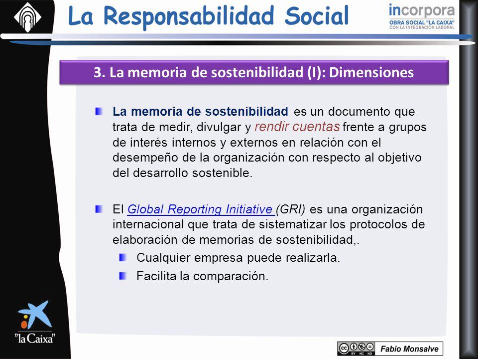 3. La memoria de sostenibilidad (I): Dimensiones La memoria de sostenibilidad es un documento que trata de medir, divulgar y rendir cuentas frente a g