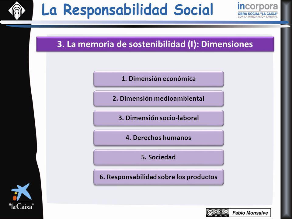 3. La memoria de sostenibilidad (I): Dimensiones 1. Dimensión económica 2. Dimensión medioambiental 3. Dimensión socio-laboral 4. Derechos humanos 5.