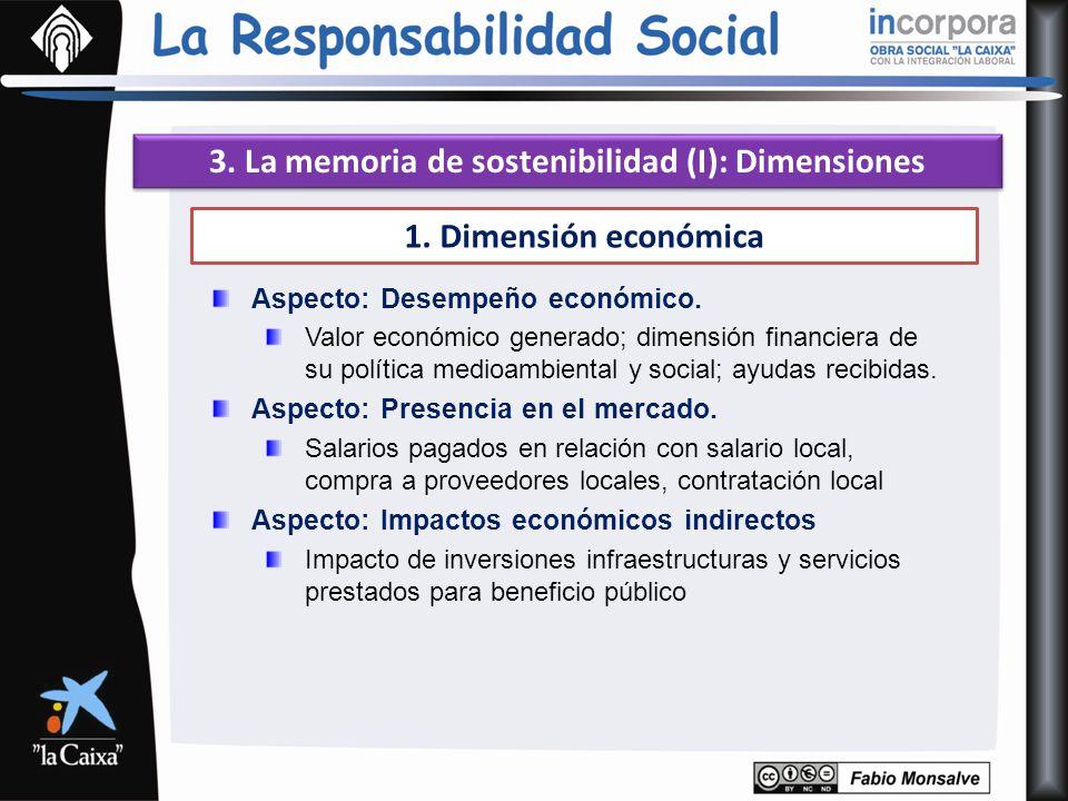 3. La memoria de sostenibilidad (I): Dimensiones 1. Dimensión económica Aspecto: Desempeño económico. Valor económico generado; dimensión financiera d