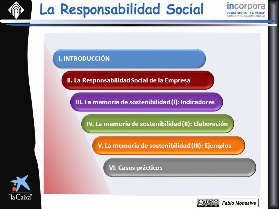 V. La memoria de sostenibilidad (III): Ejemplos IV. La memoria de sostenibilidad (II): Elaboración III. La memoria de sostenibilidad (I): Indicadores