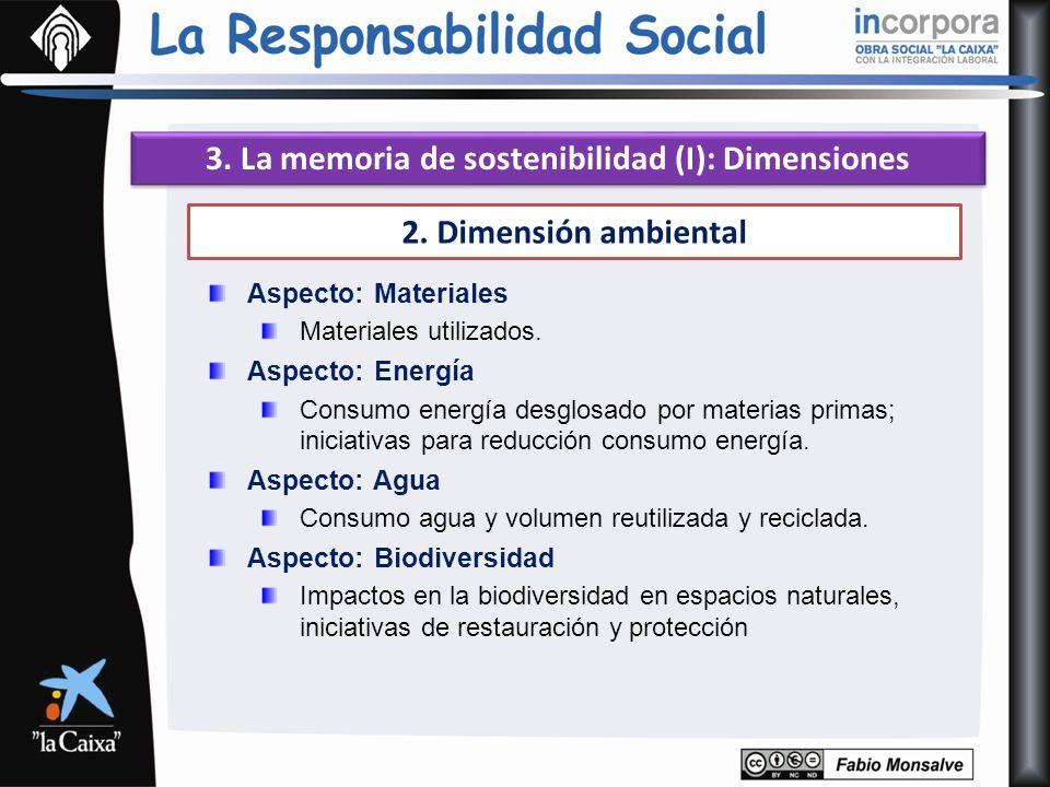 3. La memoria de sostenibilidad (I): Dimensiones 2. Dimensión ambiental Aspecto: Materiales Materiales utilizados. Aspecto: Energía Consumo energía de