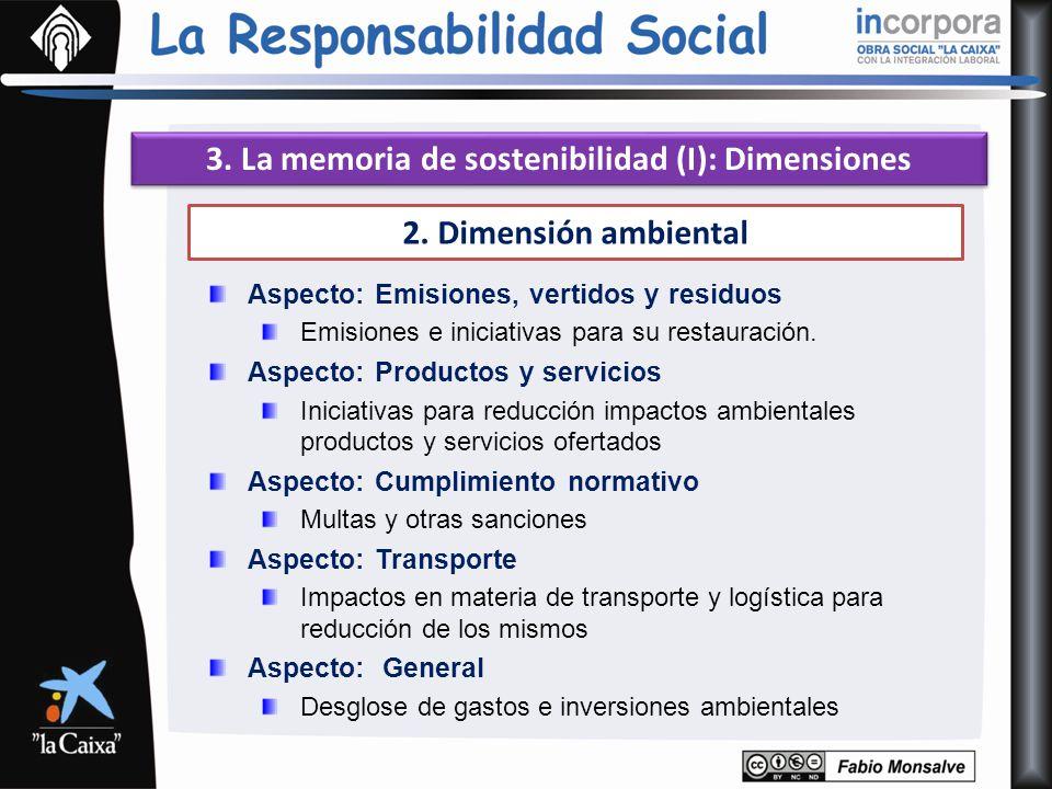 3. La memoria de sostenibilidad (I): Dimensiones 2. Dimensión ambiental Aspecto: Emisiones, vertidos y residuos Emisiones e iniciativas para su restau