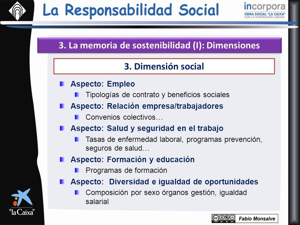 3. La memoria de sostenibilidad (I): Dimensiones 3. Dimensión social Aspecto: Empleo Tipologías de contrato y beneficios sociales Aspecto: Relación em