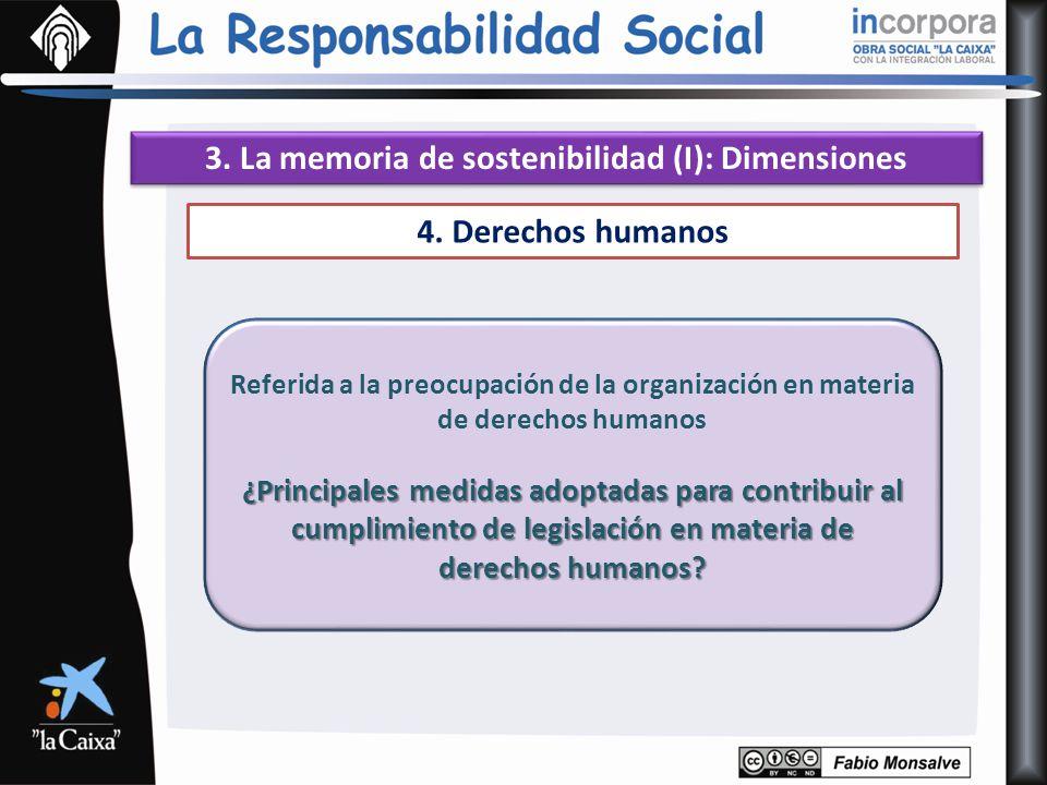 3. La memoria de sostenibilidad (I): Dimensiones 4. Derechos humanos Referida a la preocupación de la organización en materia de derechos humanos ¿Pri