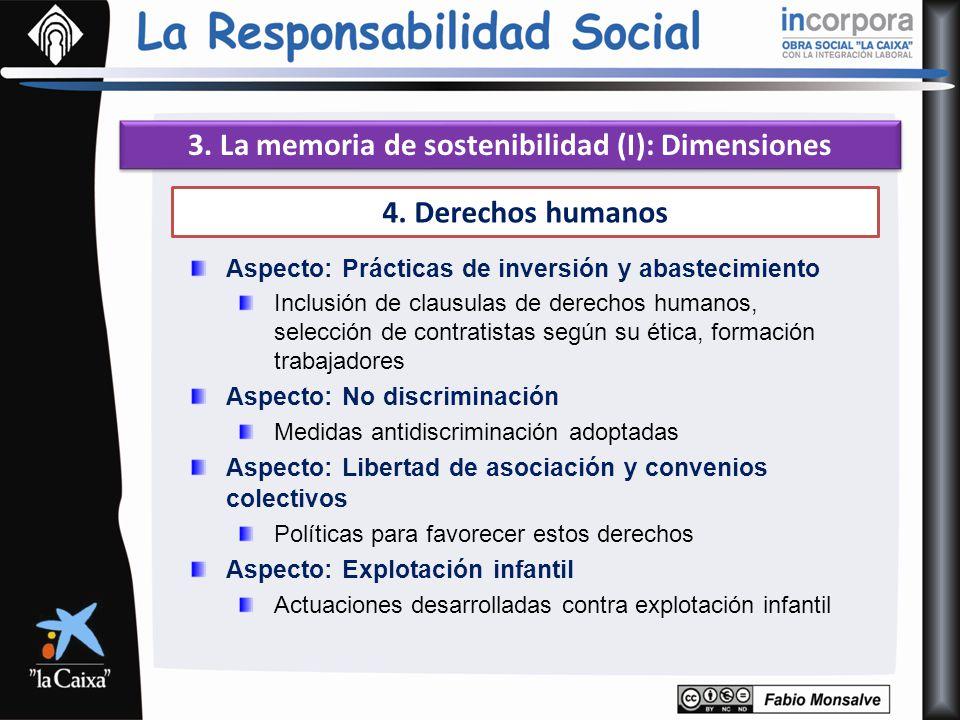 3. La memoria de sostenibilidad (I): Dimensiones 4. Derechos humanos Aspecto: Prácticas de inversión y abastecimiento Inclusión de clausulas de derech