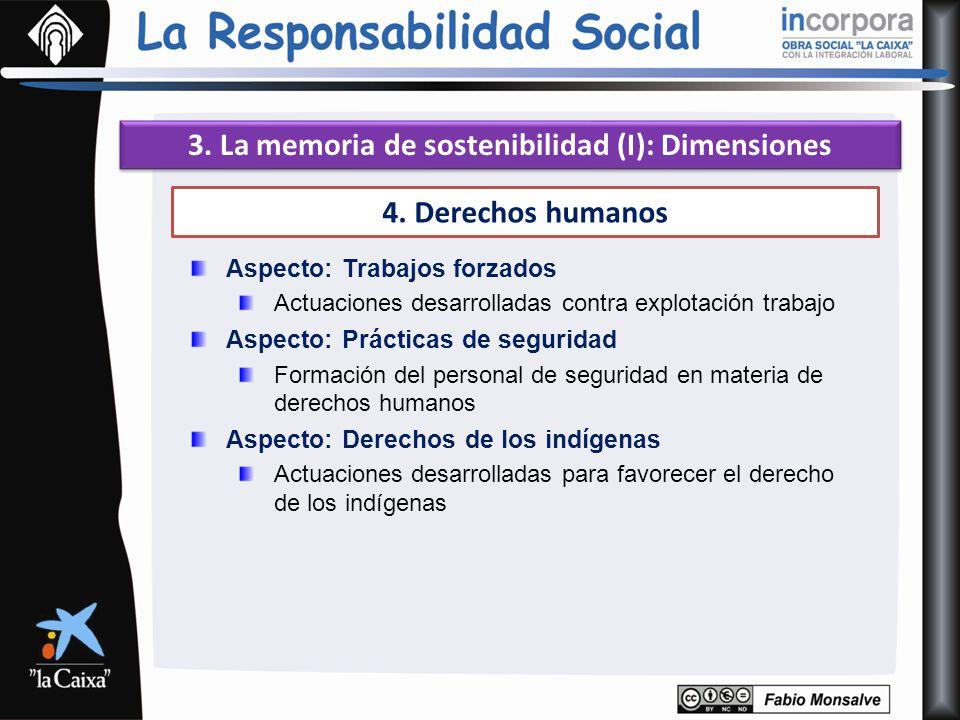 3. La memoria de sostenibilidad (I): Dimensiones 4. Derechos humanos Aspecto: Trabajos forzados Actuaciones desarrolladas contra explotación trabajo A
