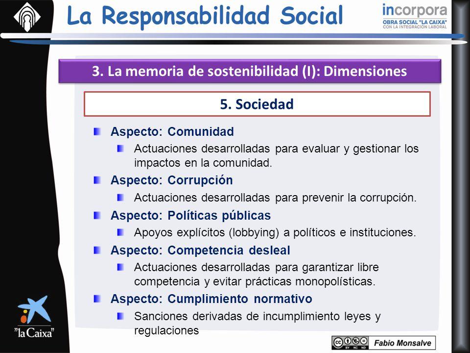 3. La memoria de sostenibilidad (I): Dimensiones 5. Sociedad Aspecto: Comunidad Actuaciones desarrolladas para evaluar y gestionar los impactos en la