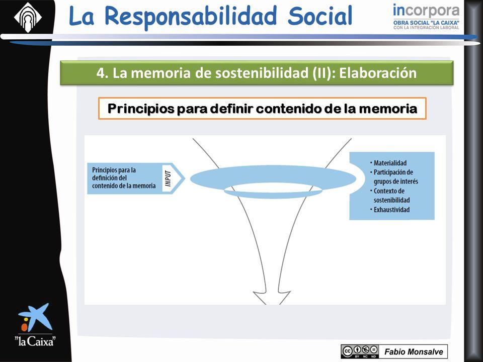Principios para definir contenido de la memoria