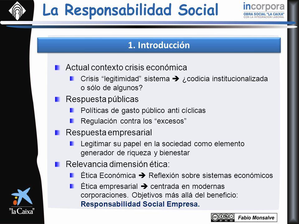 1. Introducción Actual contexto crisis económica Crisis legitimidad sistema ¿codicia institucionalizada o sólo de algunos? Respuesta públicas Política