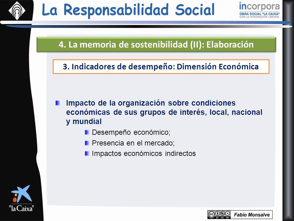 4. La memoria de sostenibilidad (II): Elaboración 3. Indicadores de desempeño: Dimensión Económica Impacto de la organización sobre condiciones económ